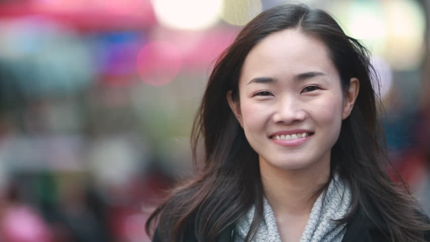 Asian woman in New York City Times Square street smile happy face | Shutterstock HD Video #4953698