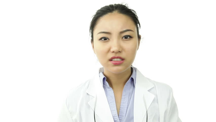 asian 20 years old girl isolated on a white background - HD stock video clip