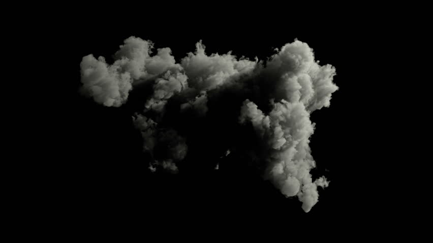 beautiful dense cloud isolated on black background, with alpha channel, ready fo compositing