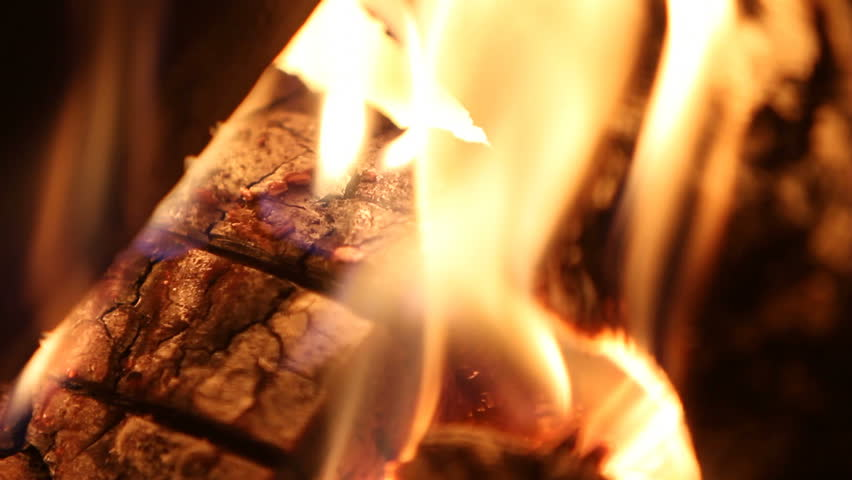 Closeup Shot Of Wood Burning In Fireplace. Shallow Depth Of Field ...