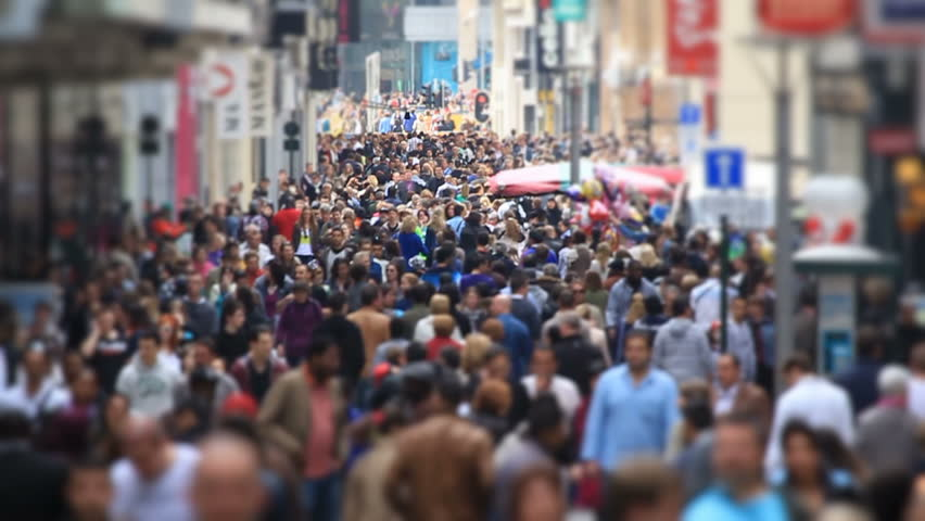 Slow motion city pedestrian traffic shot on a busy Brussels shopping street using a tilt shift effect. | Shutterstock HD Video #4978709