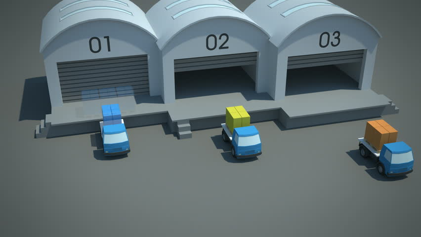 load / shipment consolidation strategies - hub and spoke cross-docking - stylized high quality 3d animation