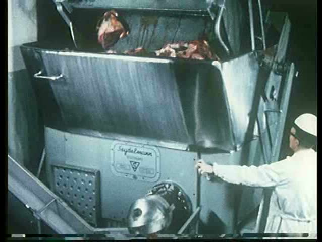 1960s - The making of hot dogs at the Hormel meat factory.