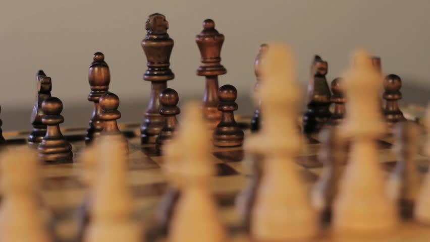 Chess board setup - dolly shot