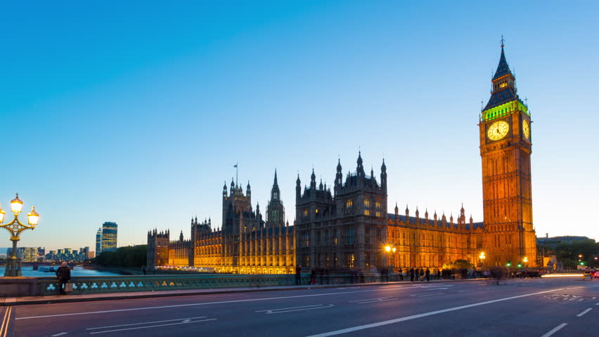 Time lapse footage of rush hour traffic on Westminster Bridge in London with Houses of Parliament and Big Ben in the background, London, England, United Kingdom - HD stock footage clip