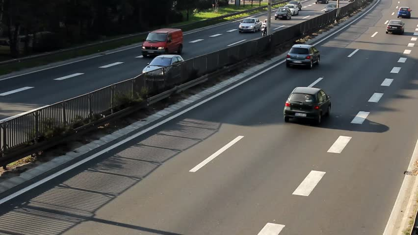 A traffic jam with rows of cars - HD stock footage clip