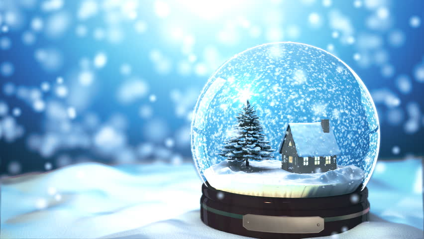 Christmas snow globe snowflake with snowfall on blue Hd home me
