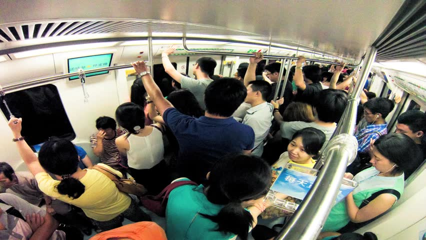 Beijing - JULY 28: Timelapse. People in the subway on July 28, 2013 in Beijing,