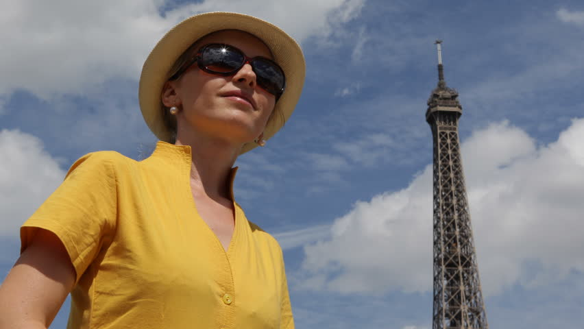 Attractive Happy Woman Tourist Traveler Admire Eiffel Tower Smile Caucasian Girl In Paris | Shutterstock HD Video #5021783