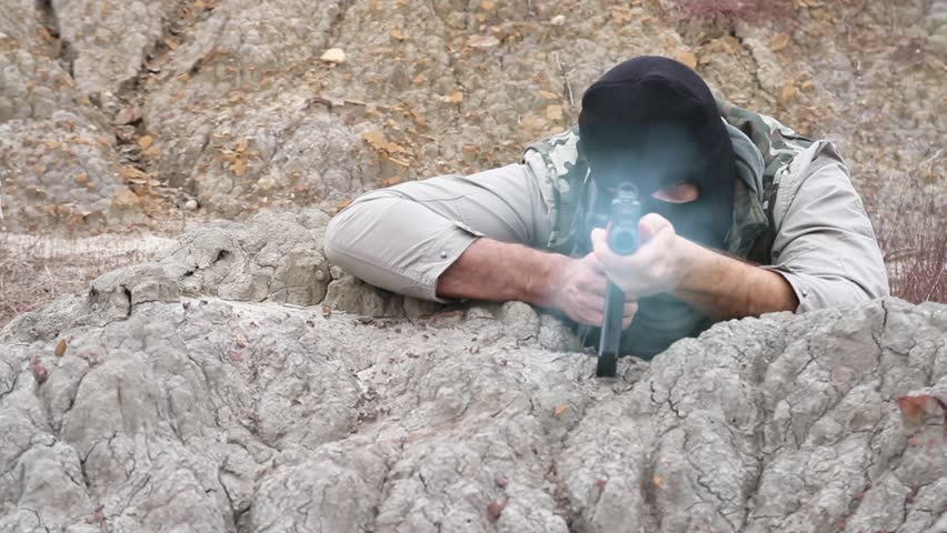 War Terrorist Assassin Anarchist Aiming Shooting Rifle Rocks