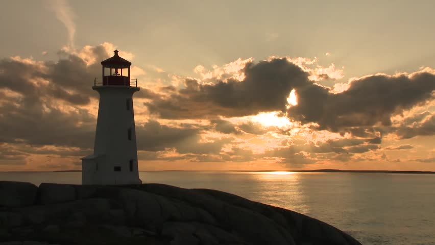 Beavertail Lighthouse With Dramatic Sunset Stock Footage ...