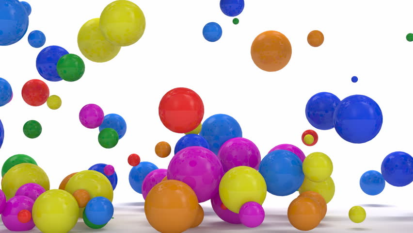 Animation of Colorful Balls Falling with Alpha Channel. Full HD Video Clip