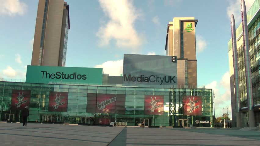MANCHESTER - CIRCA 2013 Modern Urban City Landscape - BBC Broadcasting Center, Media City UK , Salford Keys, Manchester, England