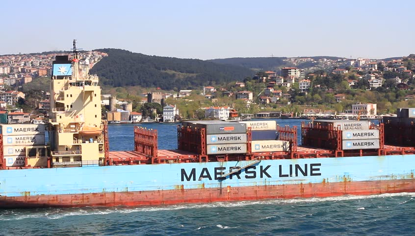 ISTANBUL - APR 13: Container Ship MAERSK BUTON (IMO: 9392925, Singapore) on