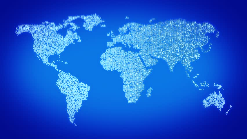 Numbers and symbols form the world map, blue tint.  More symbols and color backgrounds available - check my portfolio. - HD stock video clip