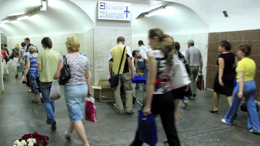 UKRAINE, KIEV, MAY 31, 2010: Crowd of people in subway, Kiev, Ukraine, May 31, 2010 - HD stock video clip