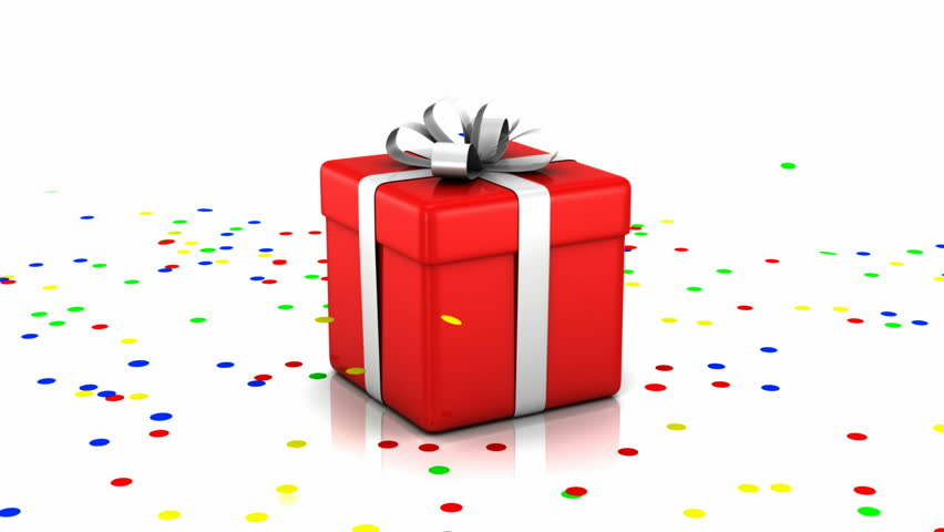 Animation Of Opened Gift Box With Confetti Inside HQ Video Clip With Alpha Channel Stock