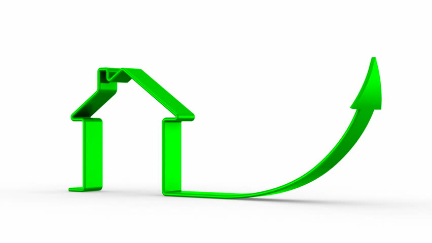 Real estate price growth. White background, 2 in 1 - HD stock video clip