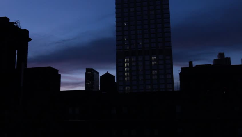 New York City Night Office Buildings and Empire State circa 2013 - HD stock footage clip