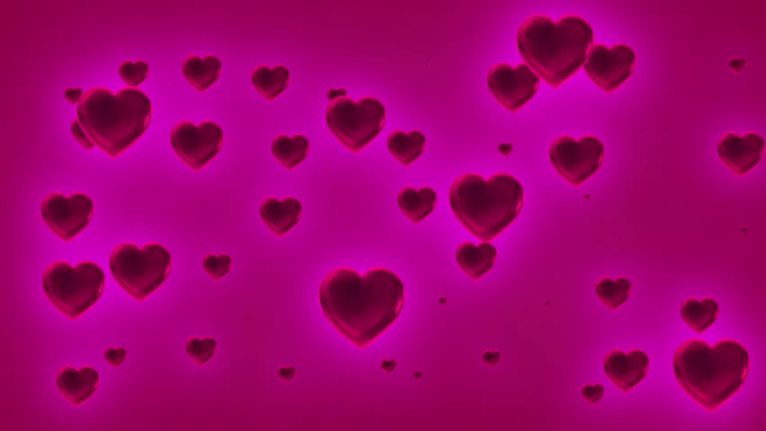 Hot Pink Colored Cascading Valentine Love Hearts Abstract ...