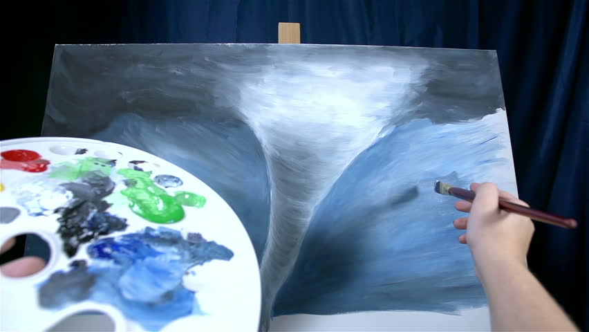 Artist view of palette and tornado artwork on canvas - HD stock video clip