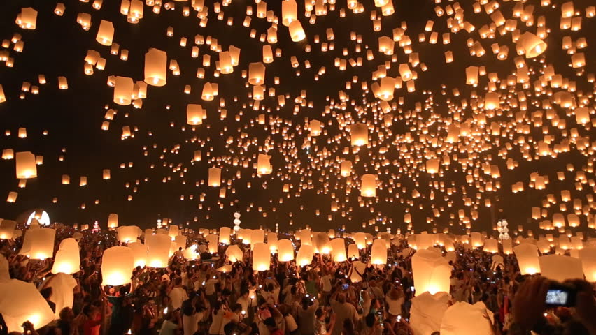 Floating lanterns in Yee Peng Festival, Loy Krathong celebration in Chiangmai, Thailand. Wide angle view.