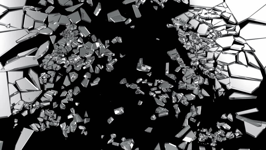 Slow Motion Animation of Broken Glass isolated on black background with Alpha Channel. Full HD Video Clip