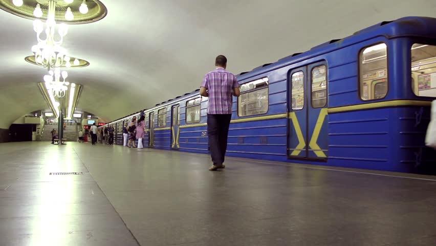 UKRAINE, KIEV, MARCH 7, 2011: People inside underground station in Kiev, Ukraine, March 7, 2011 - HD stock video clip