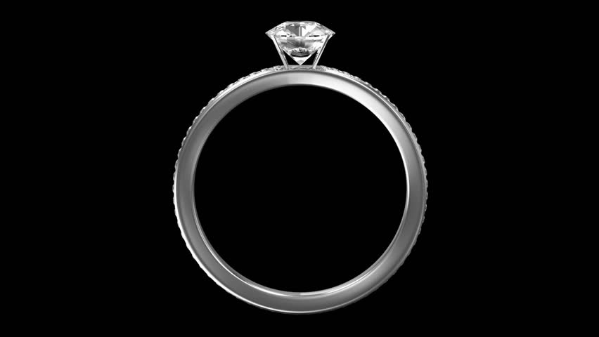 Animation of Silver Ring Rotation with Diamonds on two backgrounds. Seamless Looping HD Video Clip. Alpha Channel is Included. - HD stock video clip