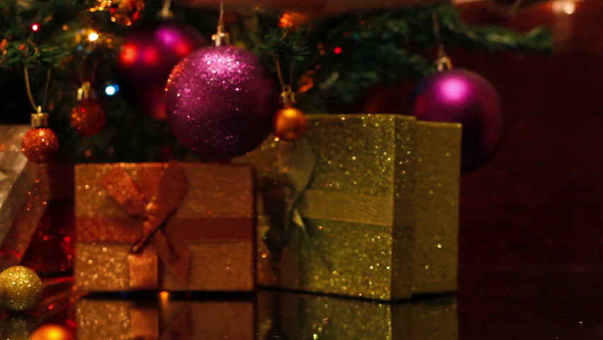 Presents With Red Bow Under The Christmas Tree Stock Footage Video ...