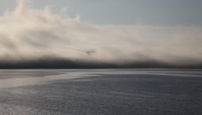 Foggy seascape at North Sea. Norway - HD stock video clip