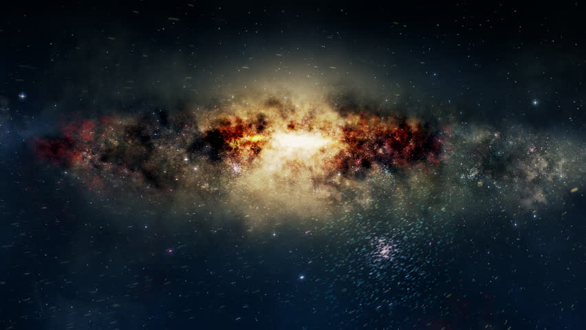 Spectacular view of a glowing galaxy, consisting of planets, star systems, star clusters and types of interstellar clouds