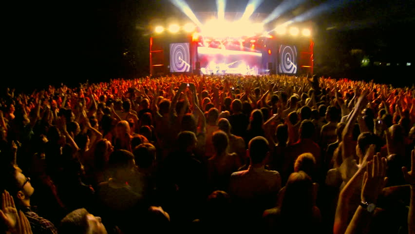 Crowd at a rock concert, back light silhouette  | Shutterstock HD Video #5208443