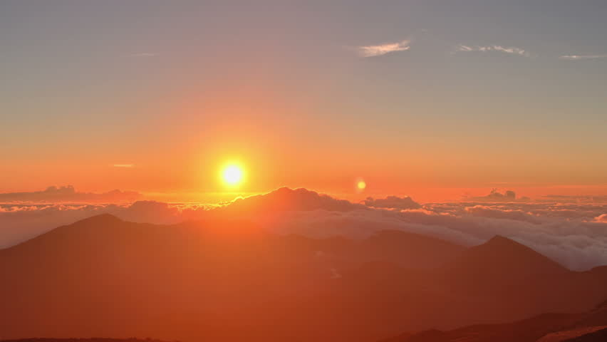 Brilliant summit dawn above flowing cloud waves, red sun disk time lapse in HDR  #5209955