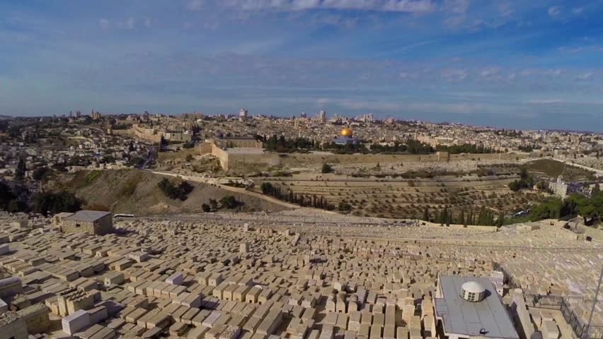East Jerusalem flight over Mount of olives cemetary and the dome of the rock - HD stock footage clip