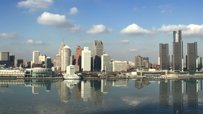 DETROIT - CIRCA NOVEMBER 2013: City skyline during a cold winter afternoon shot