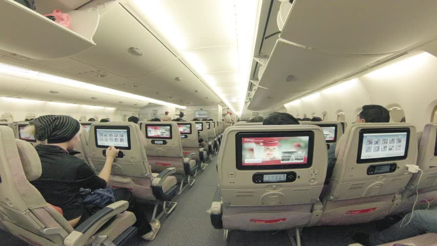 HONG KONG - DECEMBER 2: Passengers board interior of modern airplane on December