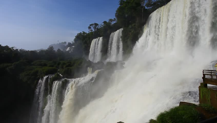 the famous Iguazu Falls on the border of Brazil and Argentina - HD stock footage clip