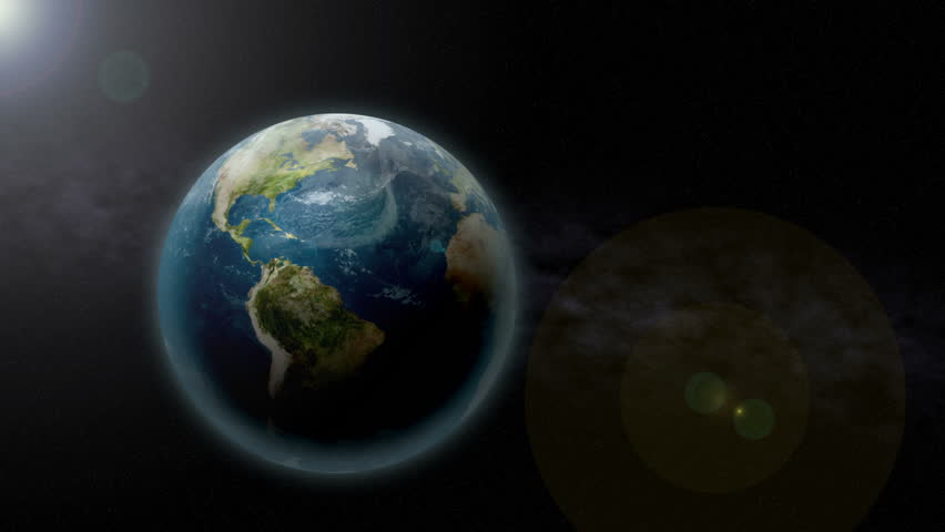 Zooming past the Earth in space. In 4K Ultra HD resolution. Perfect for showing