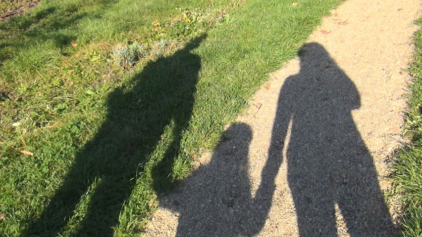 Family with Child Walking on Meadow in Park, Pov Shadow of People Enjoy Summer - HD stock video clip