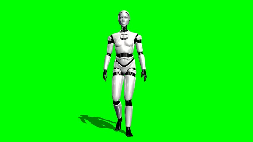 Humanoid I Robot walk animation green screen video Footage - HD stock video clip