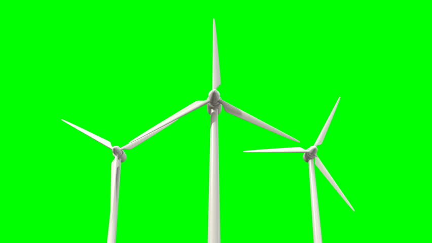 Regular wind turbines rotating in the wind on a green screen background - HD stock footage clip