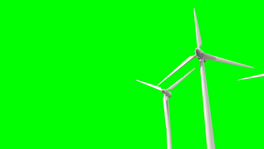 Regular wind turbines rotating in the wind on a green screen background - HD stock video clip