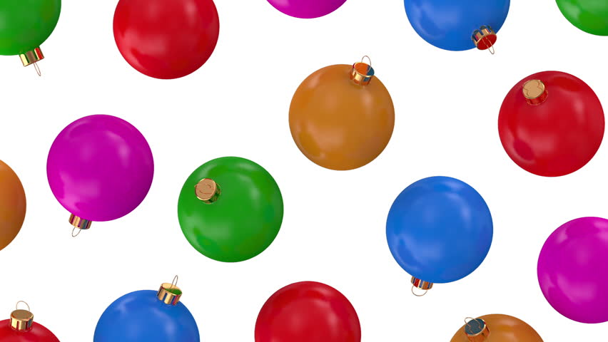 Animation of Falling Colorful Christmas Balls on white background. HQ Seamless Looping Video Clip with Alpha Channel