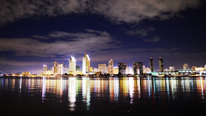 4K Time Lapse of San Diego Skyline at Night -Pan Left-