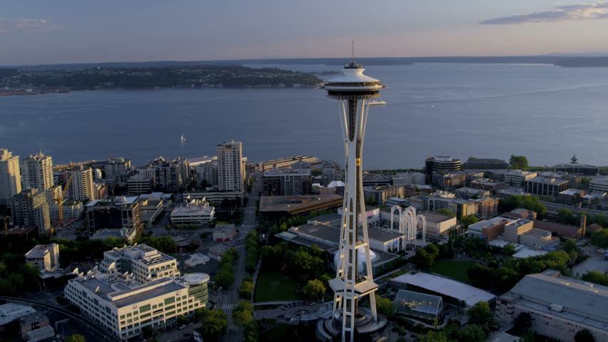 Seattle - July 2013: Aerial view at sunset Seattle Space Needle Elliot Bay, Puget Sound, Washington State, Pacific Northwest, USA, RED EPIC, 4K, UHD, Ultra HD resolution - 4K stock video clip