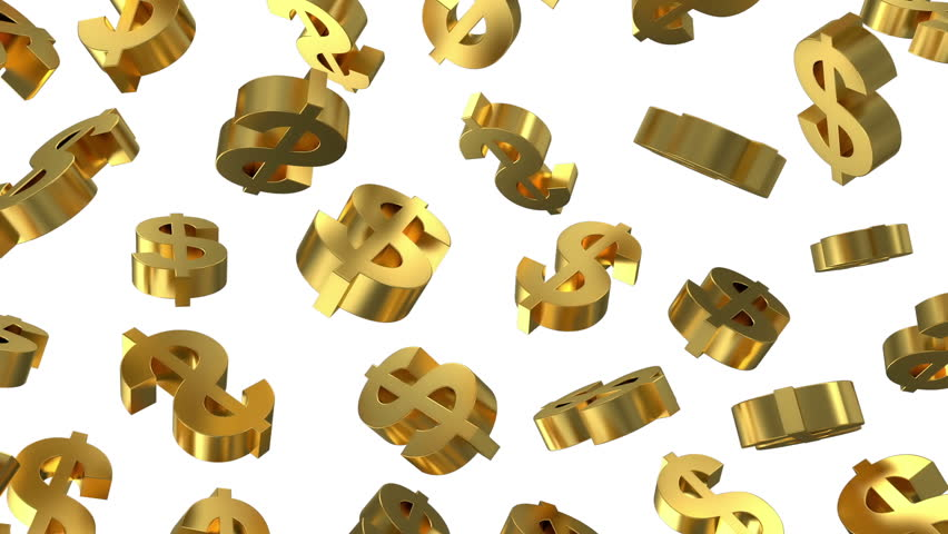 Animation of Golden Dollar Signs Falling on white background. HQ Seamless Looping Video Clip with Alpha Channel