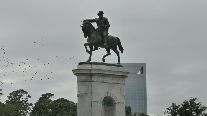 Houston, Texas - November 20, 2013 - Medium shot of the Sam Houston Statue in Houston, Texas.