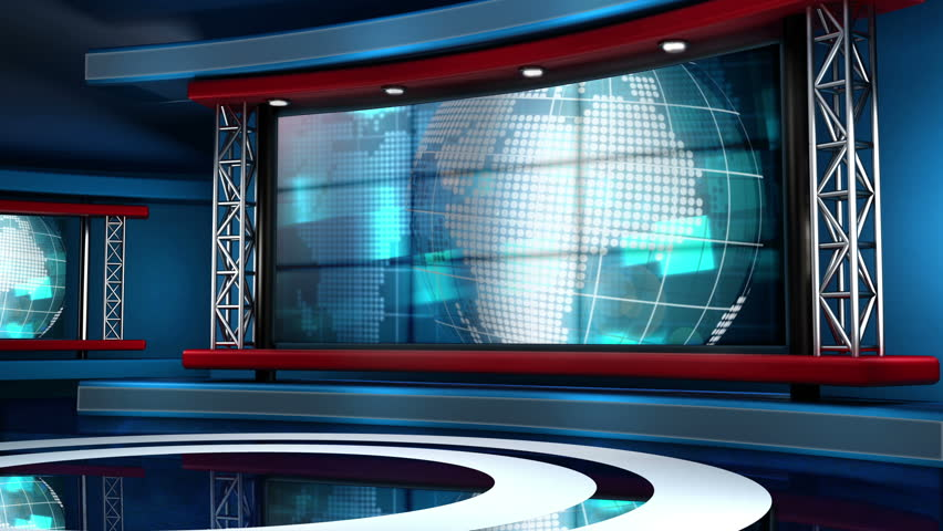 News Studio Background Footage Stock Clips