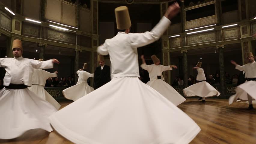 ISTANBUL, TURKEY - DECEMBER 17: Sufi whirling dervish (Semazen) dances on December 17, 2013 in Istanbul, Turkey.  - HD stock footage clip